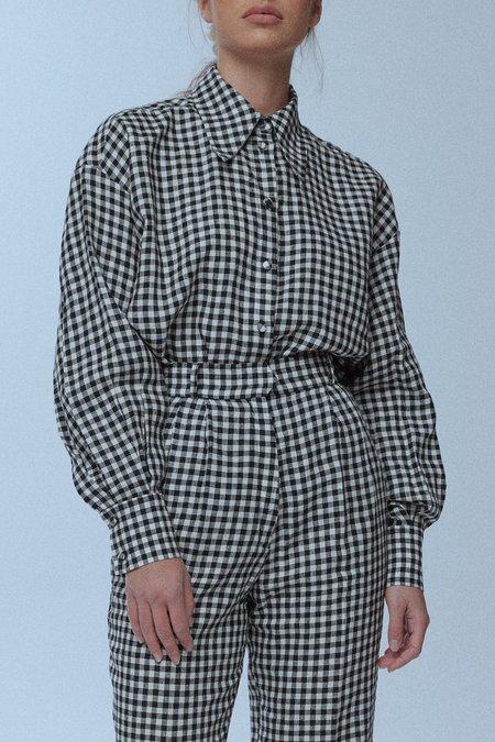 baaby Oversized Pleat Sleeve Shirt - Gingham