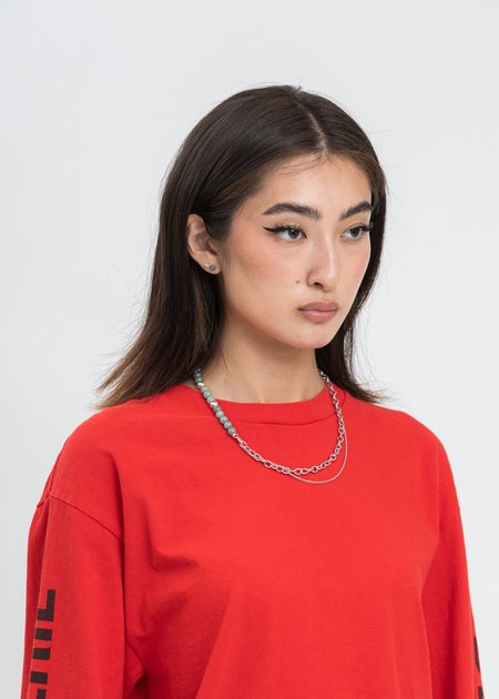 William Shen Chains And Jade Necklace - Silver
