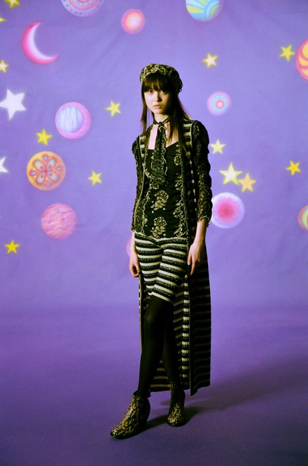 Anna Sui Metallic Stripe Knit Vest - Black Multi