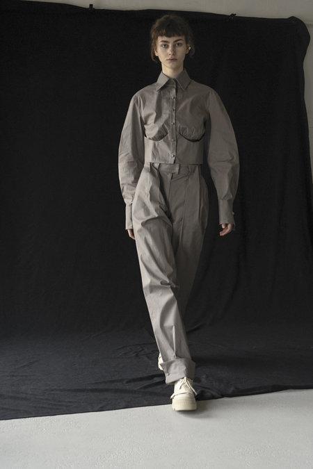 K M by L A N G E Cotton Cuffs Pants - Stone Grey