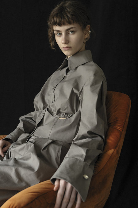 K M by L A N G E Cotton Cropped Cuffs Shirt - Stone Grey