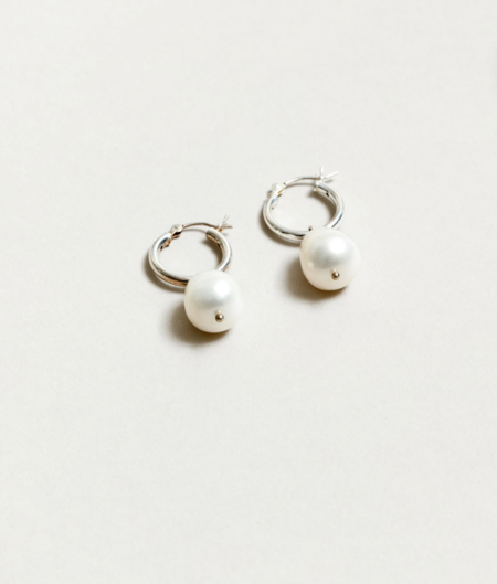 Wolf Circus Pearl Small Hoops - Silver