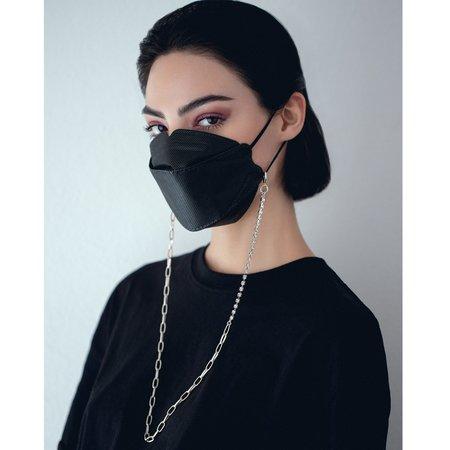 Joomi Lim Crystal & Chain Mask Holder Necklace - Brass