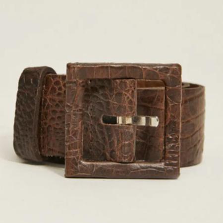 Rita Row Lucy Croco Leather Belt - Brown