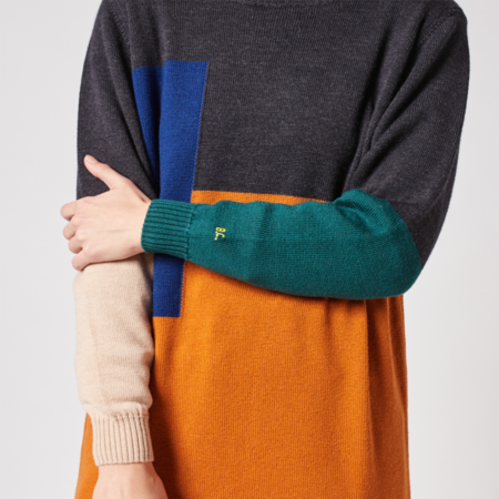 Bobo Choses Colorblock Merino Dress - Light Brown
