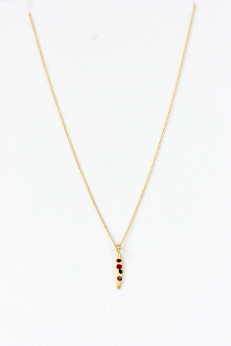 Polly Wales Rice Quill Necklace Ruby