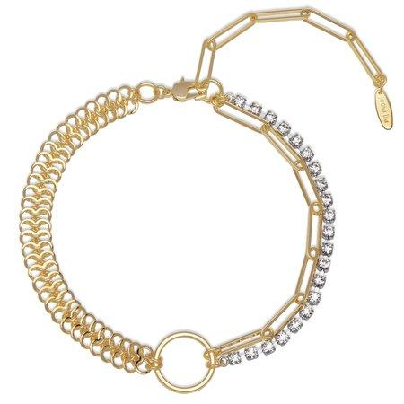 Joomi Lim Asymmetrical Chain, Hoop & Crystal Necklace - Gold