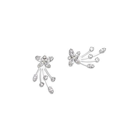 Joomi Lim Asymmetrical Crystal Soaring Butterfly Earrings - Rhodium/Crystal/Blue