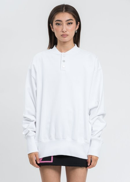 we11done White Logo Embroidered Henley Sweater
