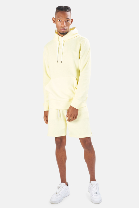 Blue&Cream Sunset Hood Pullover Sweater - BEACH Yellow