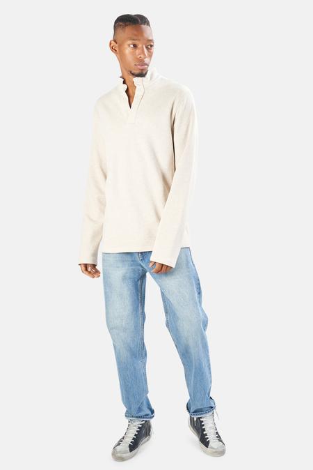 Blue&Cream Pop Collar Pullover Sweater - Oatmeal Heather