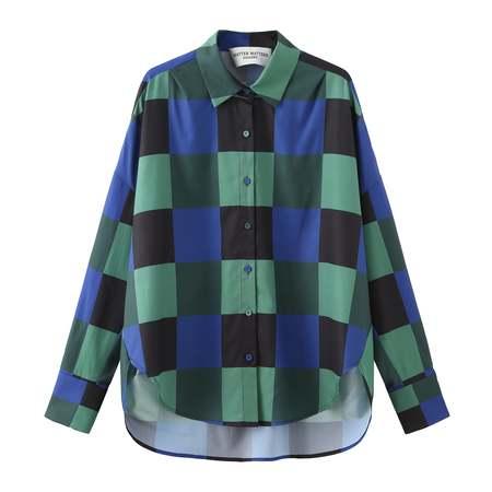 Matter Matters Decka Checked Loose Fit Capri Shirt - Green Multi