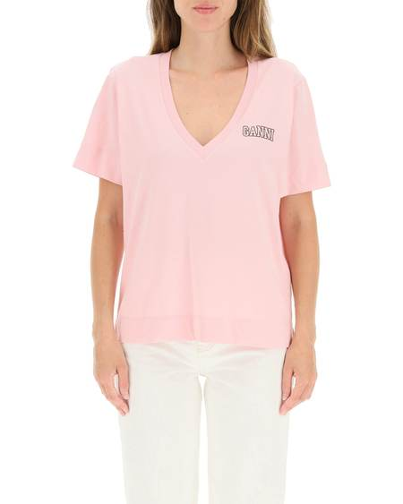 GANNI logo T-shirt - Pink