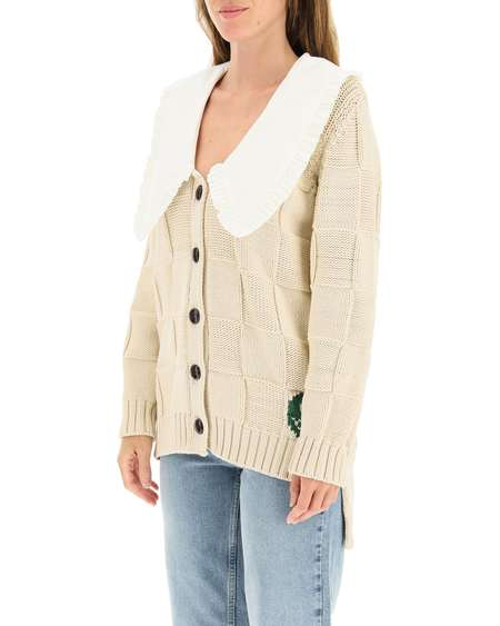 GANNI Cotton Collar Cardigan - beige