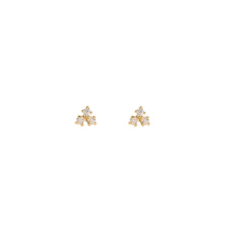 Leah Alexandra 10k Gold Tiny Trio Studs - Gold