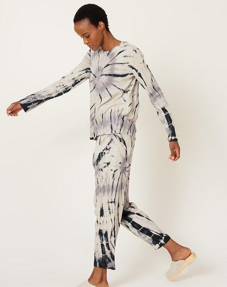 Raquel Allegra Long Sleeve T Shirt - Shadow Spiral Tie Dye