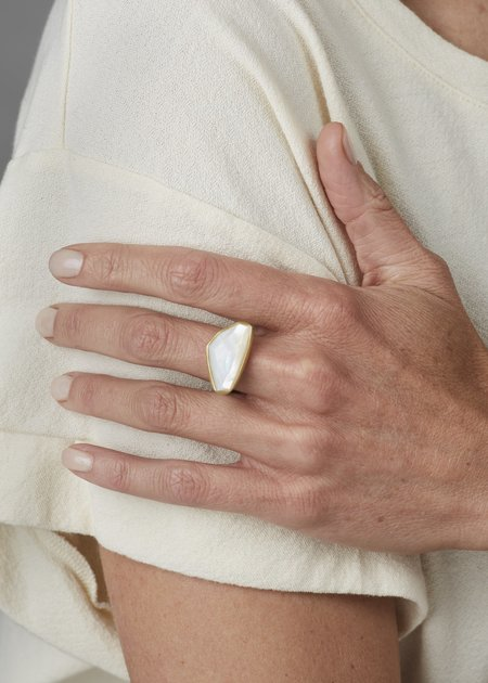 Heather Guidero Large Mother of Pearl Ring - Silver/Gold