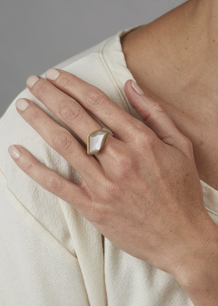 Heather Guidero Large Peach Moonstone - Silver/Gold