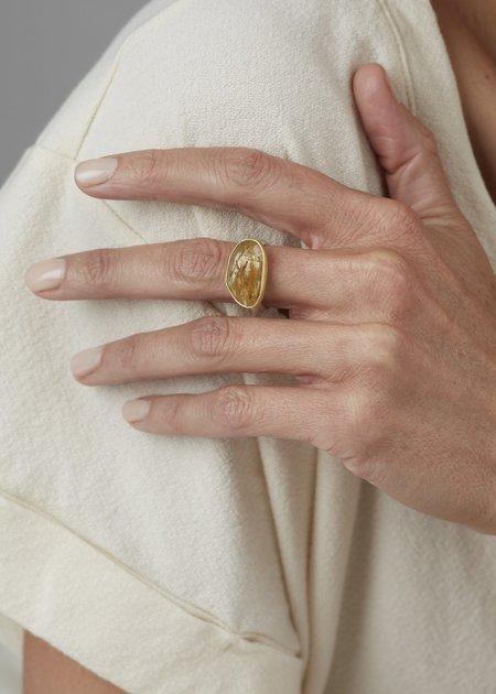 Heather Guidero Large Rutilated Quartz Ring - Silver/Gold