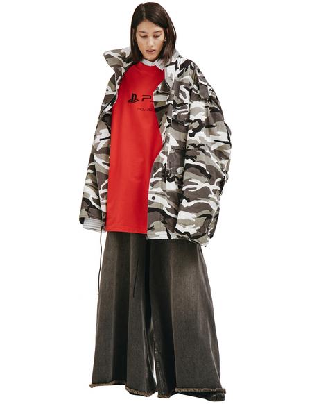 Balenciaga Off-shoulder Military Parka - Camouflage