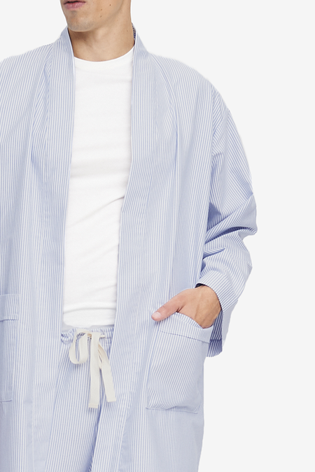 Unisex The Sleep Shirt Robe - Blue Oxford Stripe