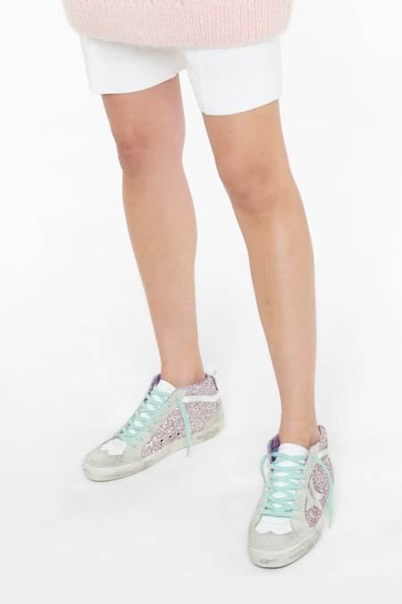 Golden Goose Mid Star Pink Glitter Upper with Multicolor Check Jacquard Lining sneakers