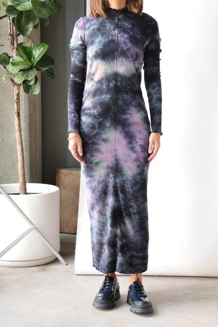 Raquel Allegra Long Sleeve Fitted Dress - Nebula Cloud Tie Dye