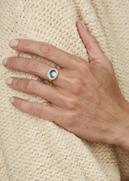 Tony Malmed Jewelry Large Oval Blue Moonstone Ring with Diamond Halo - 18 kt Gold