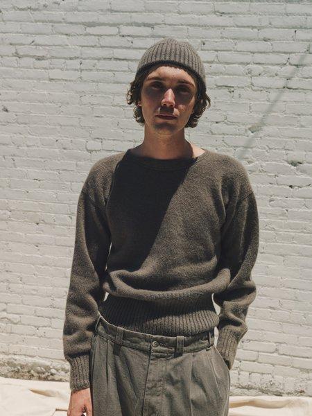 Taiga Takahashi Alpaca Wool Varsity Letterman Sweater - Gray