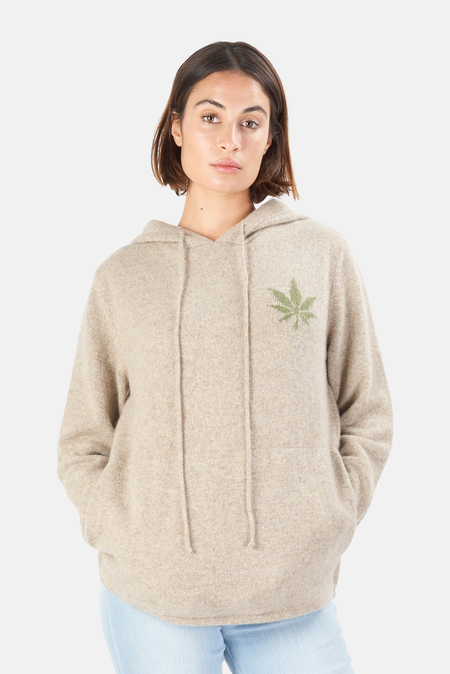 Harden x Blue&Cream Cashmere Leaf Pullover Hoodie Sweater - Oatmeal
