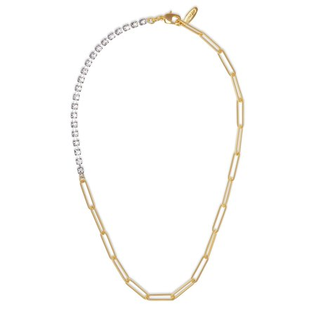 Joomi Lim Asymmetrical Chain & Crystal Necklace - Brass/Gold