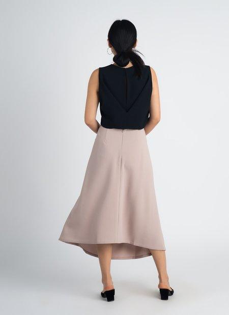 KAAREM Siamese Sleeveless Folded Back Top - Black Blue