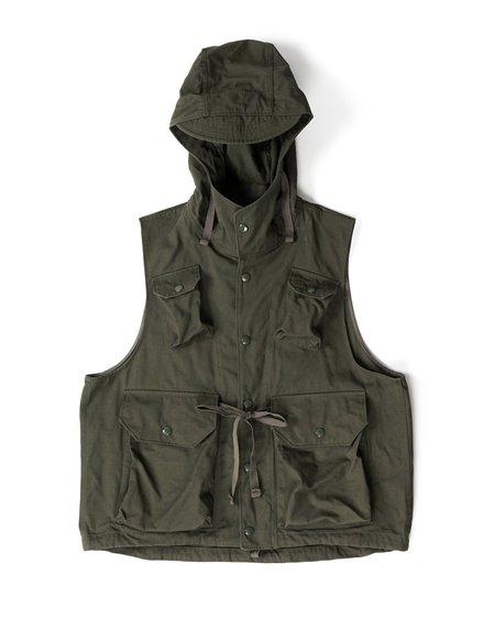 Engineered Garments Field Vest - Olive Heavyweight Cotton Ripstop