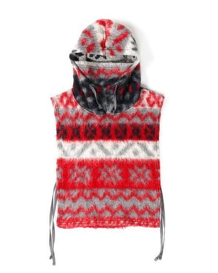 Engineered Garments Hooded Fair Isle Mohair Interliner - Grey/Red