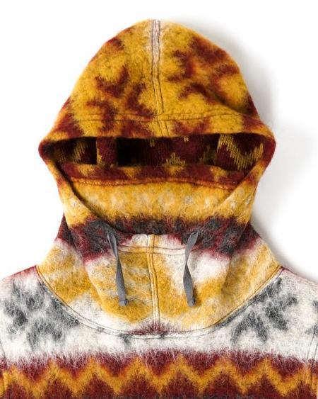 Engineered Garments Hooded Fair Isle Mohair Interliner - Mustard/Maroon