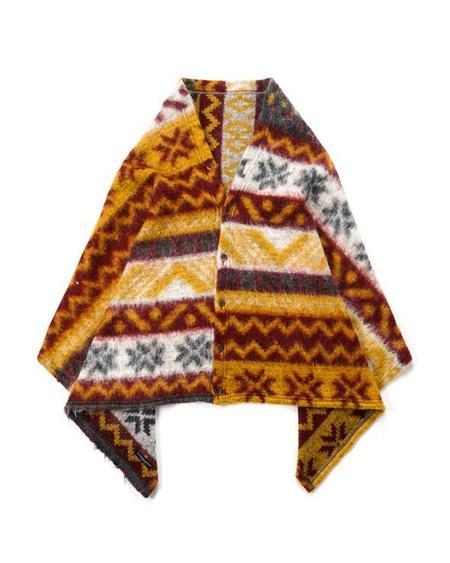 Engineered Garments Fair Isle Mohair Button Shawl - Mustard/Maroon