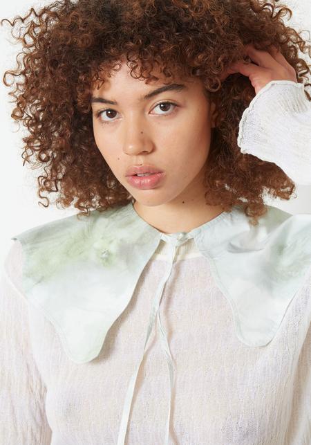Ganni Printed Cotton Poplin Collar - Kelly Green Watercolor