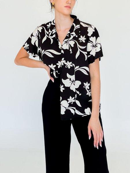 vintage Button Down Shirt - Tropical Flower Print