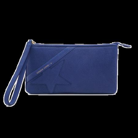 Golden Goose Grained Calfskin  Wrist Clutch Bag - Blue Royal