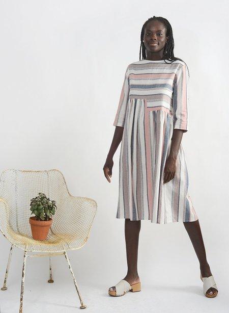 Meg Delphine Dress - Mauve Stripe