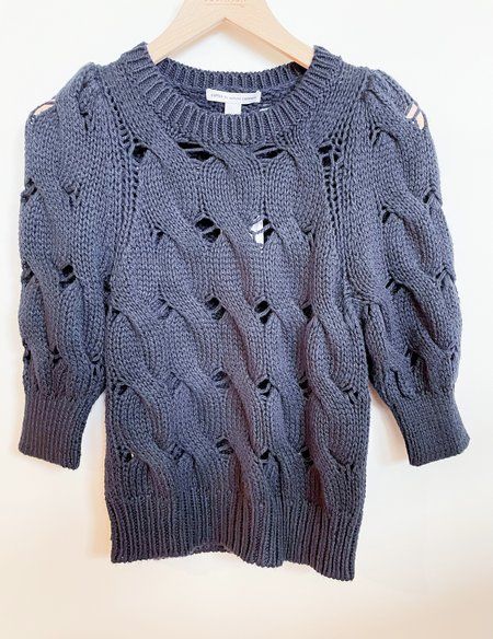 Autumn Cashmere Puff Sleeve Cable Crew - Navy