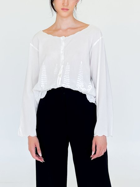 Vintage Cotton Embroidered Shirt - White