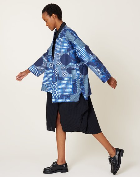 Pipette Quilted Jacket in Blue Patchwork