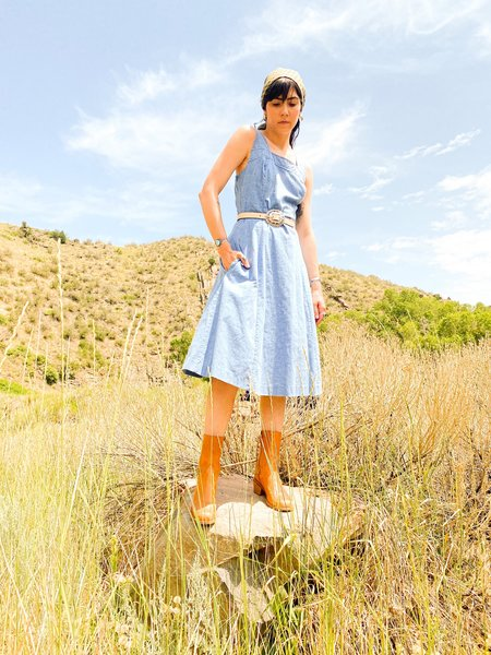 Vintage & Pre-loved CHAMBRAY DRESS - Blue