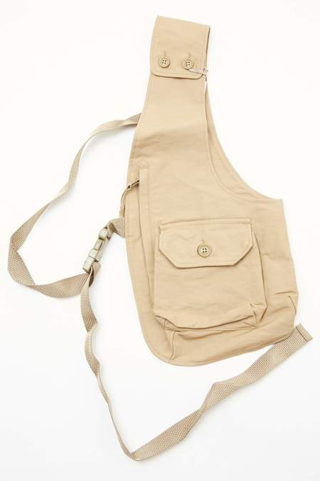 Engineered Garments Shoulder Vest - Khaki Cotton Double Cloth