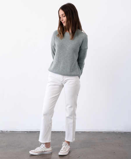 It Is Well L.A. Crewneck Pull-On Sweater - Misty Sage