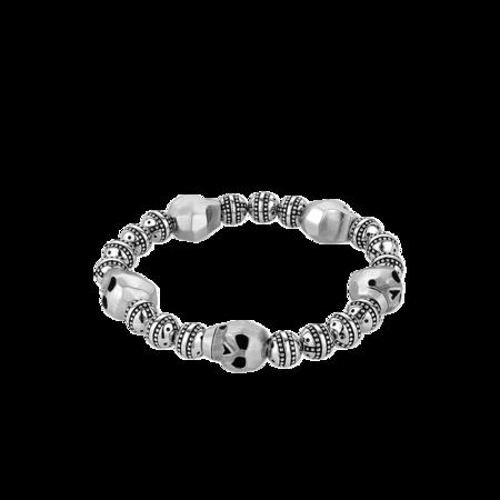 Italgem Mortis  BB-129 Faceted-Skulls Bracelet - Silver