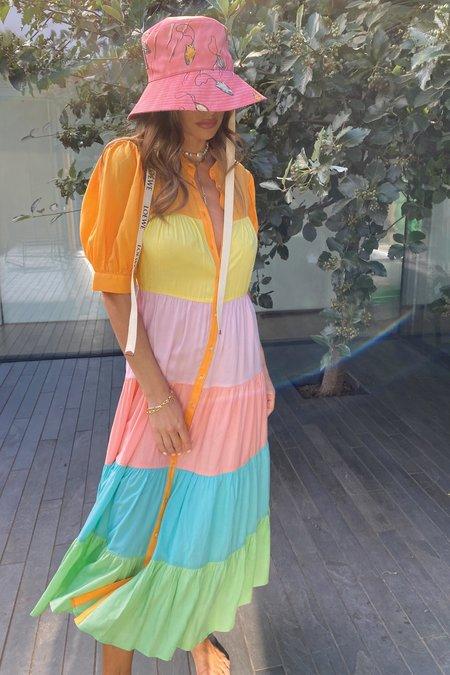 NEVER FULLY DRESSED Pastel Rainbow Panel Dress - Multi