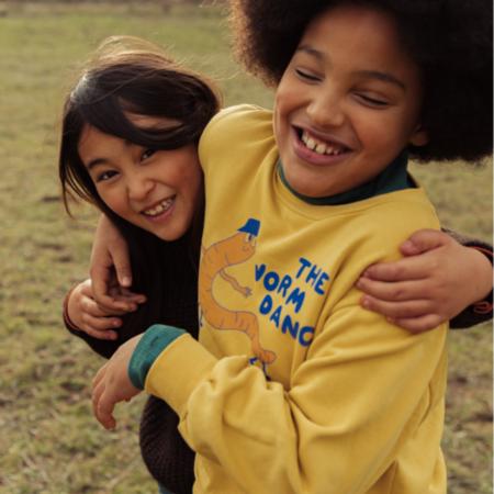 kids unisex Tinycottons Worm Dance Sweatshirt - Bamboo Yellow