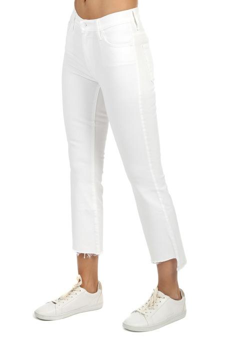 Mother Denim Insider Crop Step Fray Jeans - White